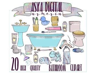 bathroom clipart | etsy