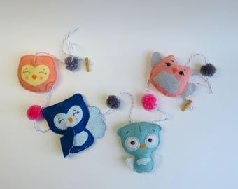 Owls felt garland - Owls family- Felt decoration