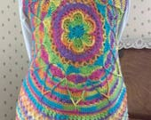 Crocheted Boho Chic Mandala Circular Vest