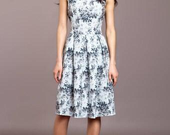 Short floral dress, Light mint summer dress