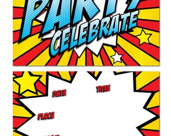 Party Invitations - Retro/Popart - 24 x A6 postcard size cards - suitable for any celebration! (With Envelopes)
