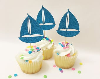 Sail Boat Cupcake Topper, Anchor Nautical Sailor Sail Boat, Birthday, Ahoy Set Sail Cupcake Topper, Gold Glitter Topper Party Baby Shower
