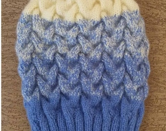 Warm winter wool knitted hat