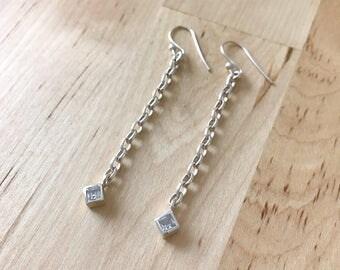 Sterling Silver & Quartz Crystal Chain Earrings