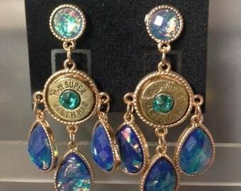 Blue Swarovski Crystal Bullet Earrings