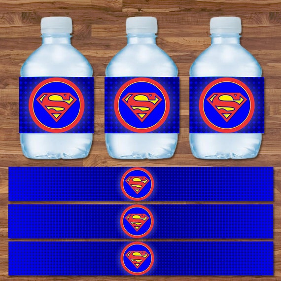 Superman Drink Labels - Superman Water Bottle Labels - Blue & Red Logo - Superman Birthday - Superman Party Printables - 9.75 x 1.25 Inches