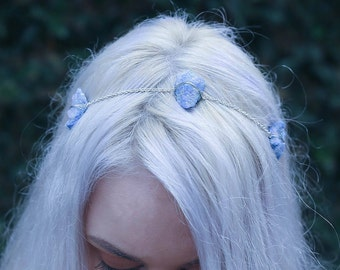 Blue Agate | Silver Wire Wrapped | Crystal Headband