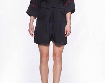 Extravagant womens jumpsuit/ Short pijama jumpsuit/ Loose jumpsuit/ Designer black jumpsuit/ Oversize jumpsuit/ Party jumpsuit