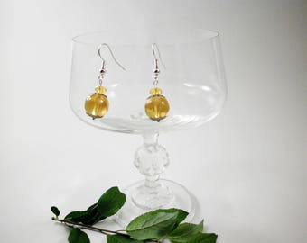 Orange Hanging Beads earrings, earrings shiny, handmade earrings, elegant woman earrings, silver plated earrings