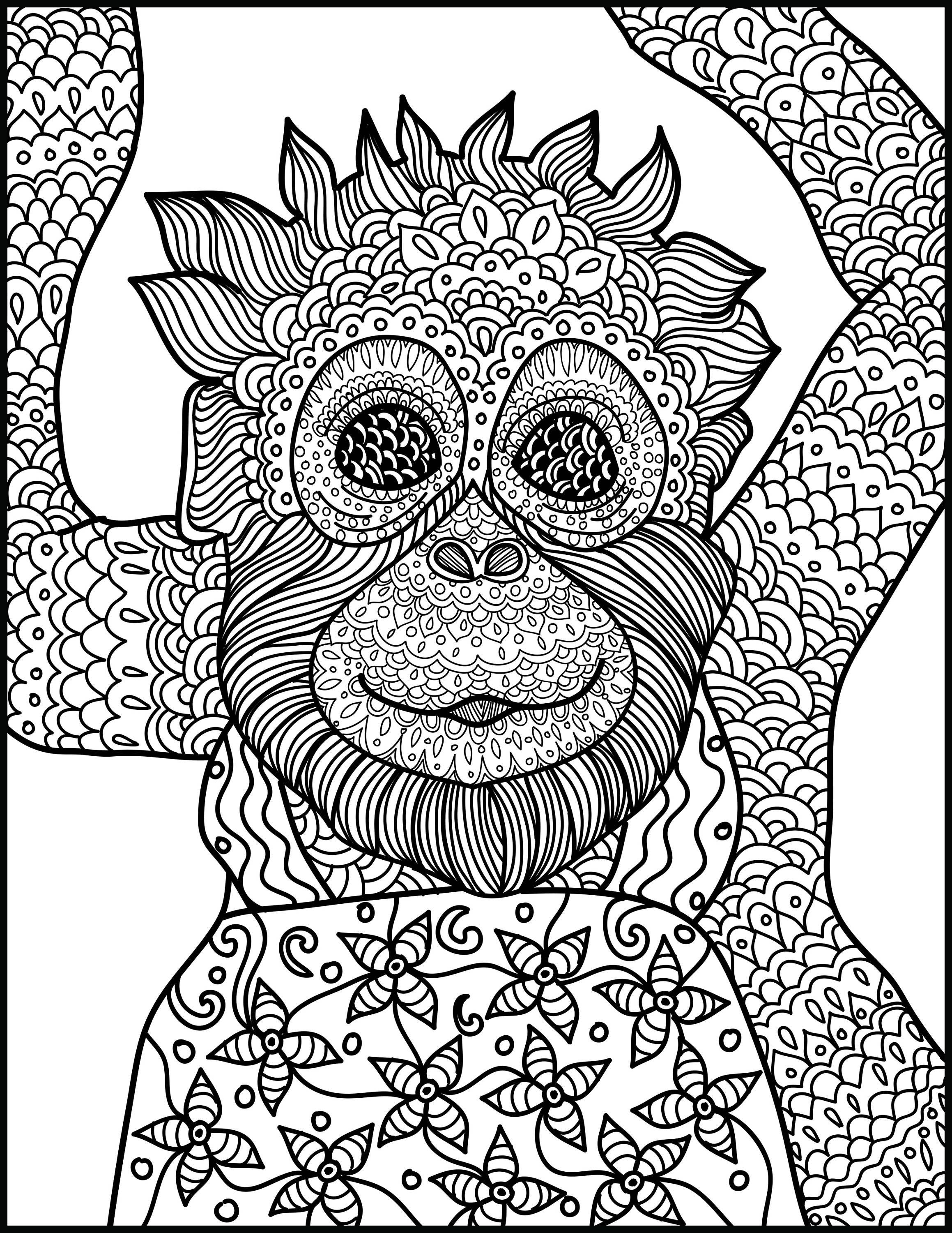 animal coloring page monkey printable adult coloring page. Black Bedroom Furniture Sets. Home Design Ideas