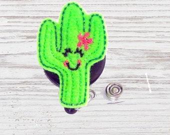 Nurse Badge Reel | Cactus Felt Badge Reel | Cactus Badge Reel | Felt Applique | Retractable ID Badge Holder | Nurse Badge | CNA Badge