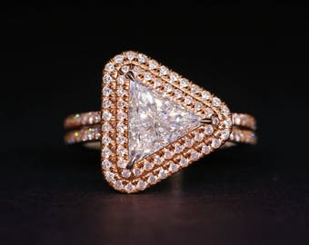 18K Rose Gold 1.20ct GIA Trilliant Diamond Ring 1.75ct R1579128