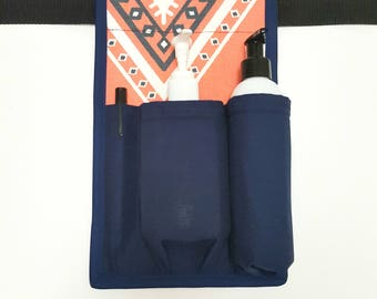 Coral and Navy Massage Lotion/Oil Holster-Made to Order-RIGHT HIP-Coral and Navy-Massage Lotion Holster-Massage Oil Holster-Massage