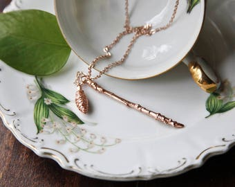 Pinecone and Twig Necklace