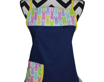 Easter Bunny Cotton/Denim Apron (One Size Fits Most)