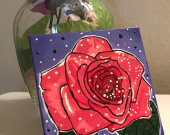 """Rose - Acrylic Painting on 4""""x4"""" Stretched Canvas"""