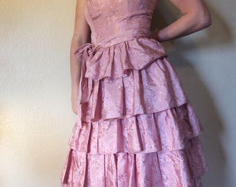 Vintage 1980s Pink Ruffle Prom Dress