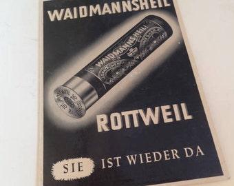 Germany Vintage ROTTWEIL SHOT SHELLS, Waidmannsheil Hard Paper Advertising Sign, Hunting Gun