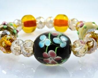 Floral Lampwork Glass Bracelet