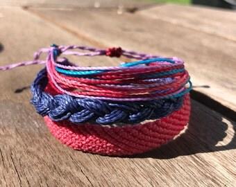 Berry Nice to Meet you Style Stack   Waterproof & Adjustable   Friendship Bracelets