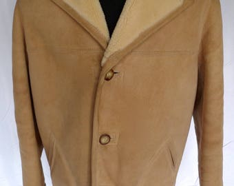 Rugged SAWYER of Napa Marlboro Man SHEEPSKIN Shearling COAT Jacket Sz 42 Tan