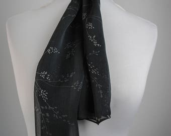 1990s Black Floral Scarf // Witchy Scarf // Vintage Neck Scarf // Black Floral // Sheer Scarf // Gauzy Scarf // Witchy Clothing