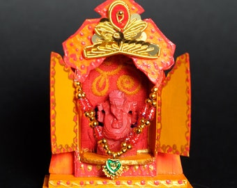 Mini Altar / Matchbox Temple with Ganesh Statue
