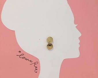 Double Round Diamond Earrings - Gold