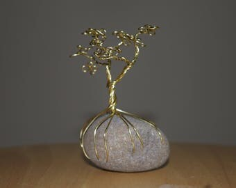 Copper Wire Tree on Stone Sculpture, Tree of Life, Wire Tree Sculpture, Wire Sculpture, Wire Tree, Tree Sculpture, Tree Stone Sculpture