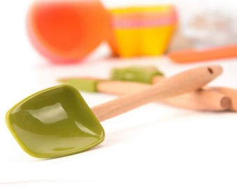 mini set 3 pieces of food grade silicone spatula scraper and brush cooking tool