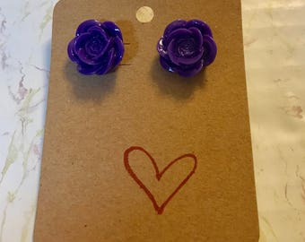 Dark Purple Rose Post Earrings