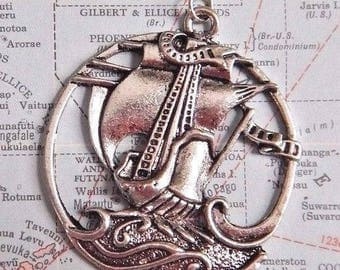 Silver Pirate Ship Pendant Nautical Boat Necklace 1H