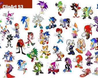 53 Sonic X ClipArt - Digital , PNG, image, picture,  oil painting, drawing,llustration, art , birthday,handicraft