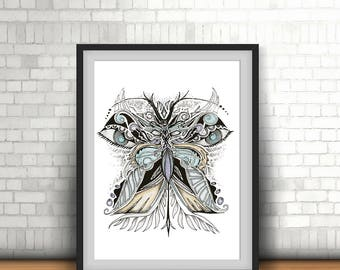 Butterfly Digital Painting/ Wall art/ Poster/ Geometric