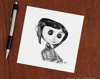 Coraline Girl With The Button Eyes Neil Gaiman Art Print