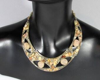 Pink necklace made of gemstones - pink quartz - and alpaca silver