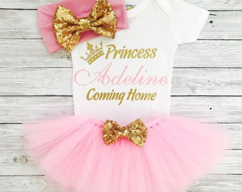 Baby Girl Coming Home Outfit, Personalized Newborn Outfit, Baby Girl Coming Home Dress, Newborn Girl Clothes, Take Home Outfit Baby Girl