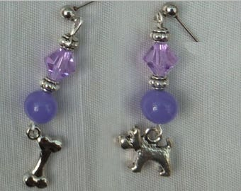 Handcrafted Lavender Jade Scottie & his Dog Bone with Lavendar Crystal and Tibetan Silver Accents//For Dog Lovers