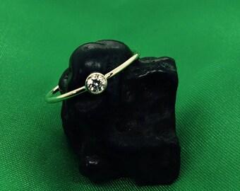 Handmade 14k yellow gold diamond stacking ring