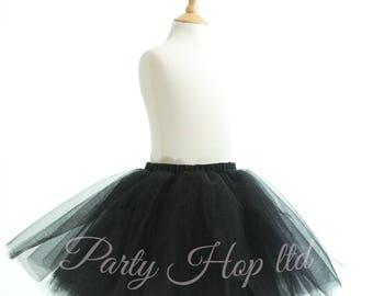 Black Tutu with Elasticated Waistband (Black, Wedding, Flower Girl, Bridesmaid, Party, Birthday, Tutu, Tulle, Girls,)