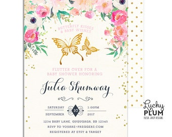 Butterfly Baby Shower Invitation / Couples Baby Shower Invitation / Floral Baby Shower Invitation / Coed Baby Shower Invitation BY01