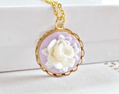 Cameo Necklace, Vintage Style, Flower Pendant, Rose Cameo, Floral Cabochon, Pendant Flower, Lavender Cameo, Gift for Her