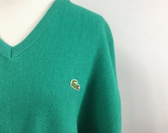 Green V Neck Sweater with Alligator Patch - Izod Lacoste - Vintage 80s Preppy - Sea Green, Spring Green - Large XL Sweater - Folded Cuffs