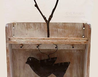 Rustic Metal Bird, Twig Art, Mixed Media, Assemblage, Art, Recycled, Home Decor, Office Art, Gift, Winjimir, Art, Bird Art, Modern Rustic