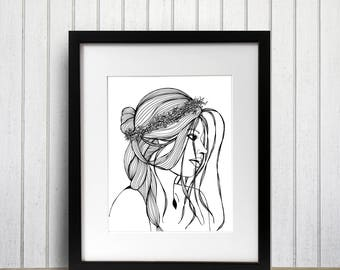 Spring Equinox Original Ink Drawing - Art Print