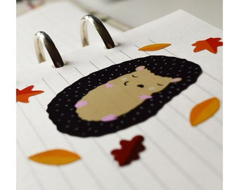 A6 Autumn hedgehog and leaves vinyl sticker sheet