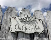 Wedding GUEST BOOK Sign | Wedding Signs | Please Sign Our Guest Book | Guestbook Ideas | Hang or Free Standing All in One | Vintage Wedding