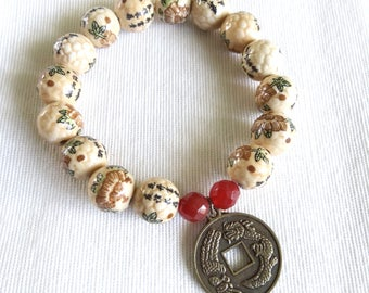 Beige Stone with Etched Flowers and Characters with Chinese Coin Charm Friendship Bracelet