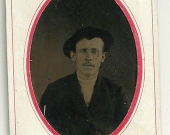 Tintype man in hat Victorian vintage photo ferrotype cdv sized tinted mustache PA