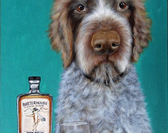 German Wirehaired Pointer GWP Dog Art Painting, Bar Art, Whiskey Painting by Carol Iyer